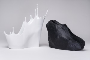 "Sebastian Errazuriz, ""The Cry Baby"" and ""The Rock,"" from the ""12 Shoes for 12 Lovers"" collection, 2013, 3D-printed  acrylonitrile-butadiene-styrene polymer, resin, and acrylic. Museum purchase, 2015, Peabody Essex Museum. © 2016    Peabody Essex Museum. Photography by Kathy Tarantola"