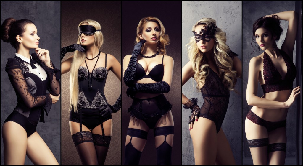 Collection of young women in sexy lingerie. Beautiful girls posing  in underwear. Beauty, fashion and vogue concept.